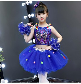 Girls jazz dance princess dress paillette kids children royal blue modern dance model show stage performance chorus dresses